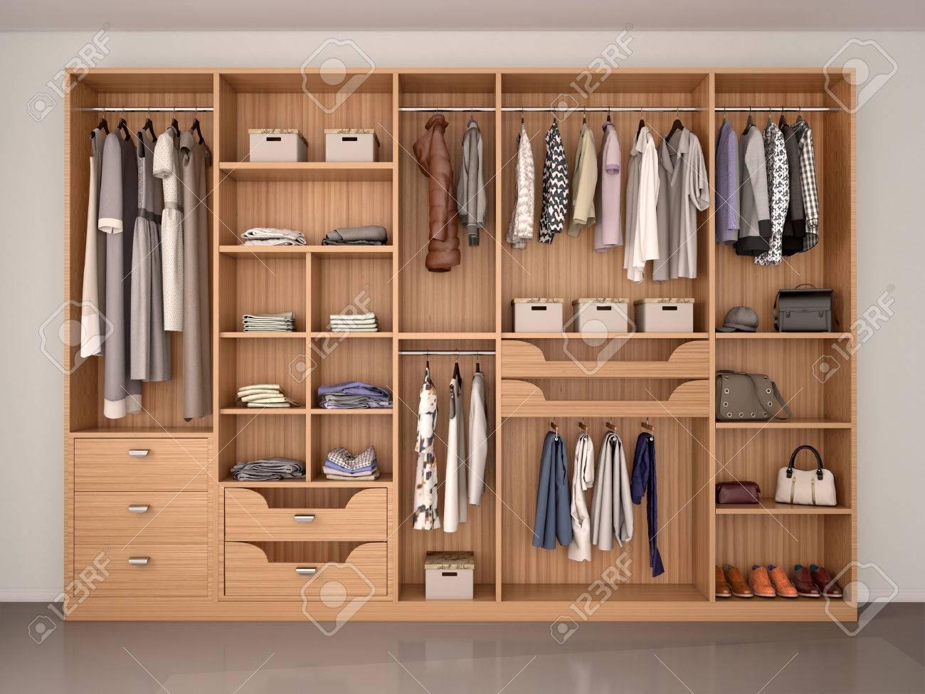 Illustration wooden wardrobe closet full of different things 3d illustration