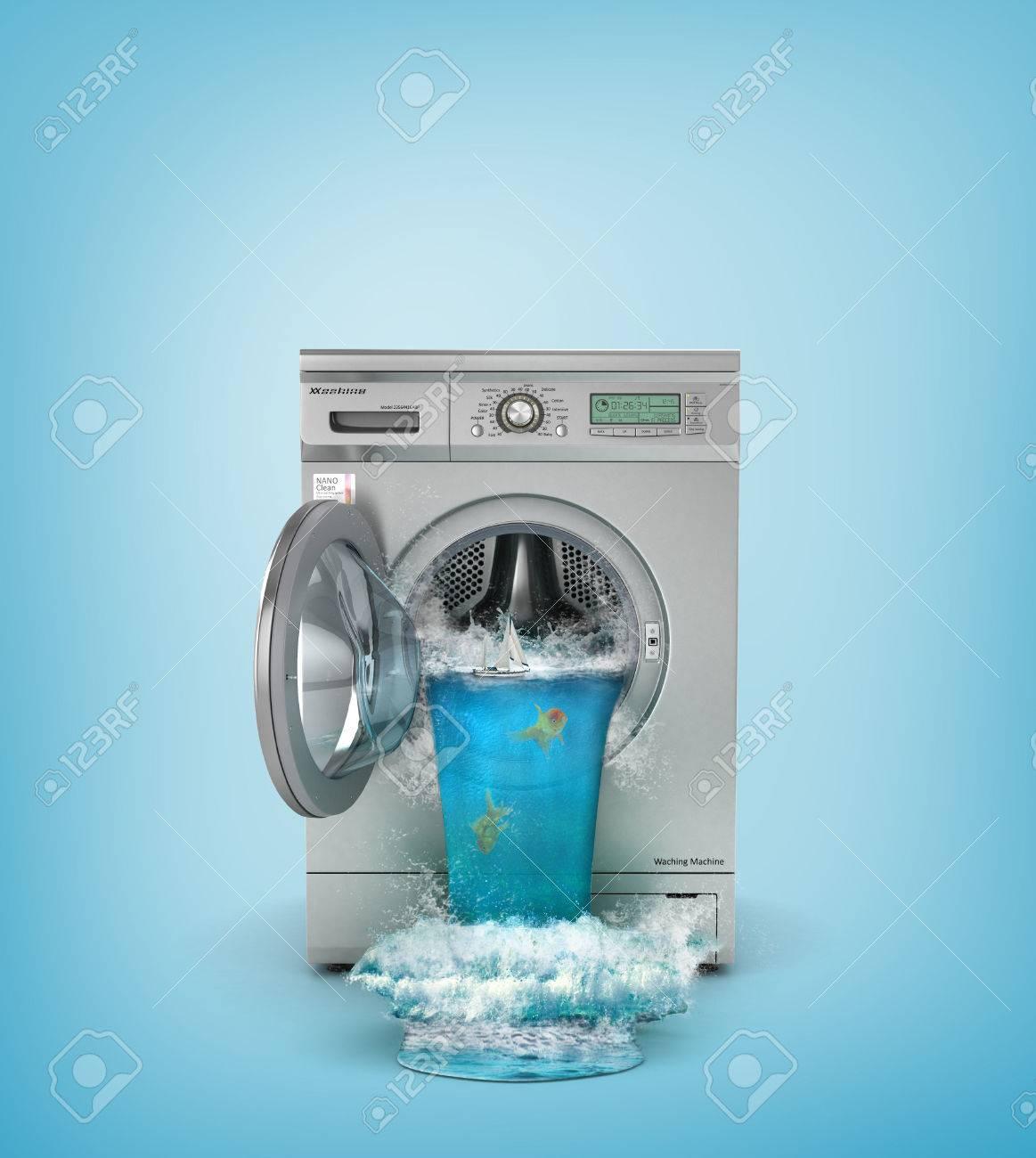 Concept of washing. Broken washing machine. The waterfall follows from open window of washing machine. 3d illustration - 60937973