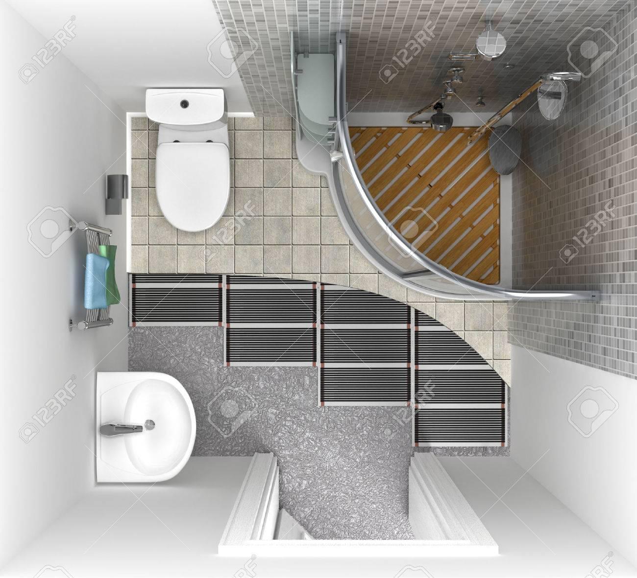Sistema De Calefacción Por Suelo Radiante En El Baño, Vista Desde ...