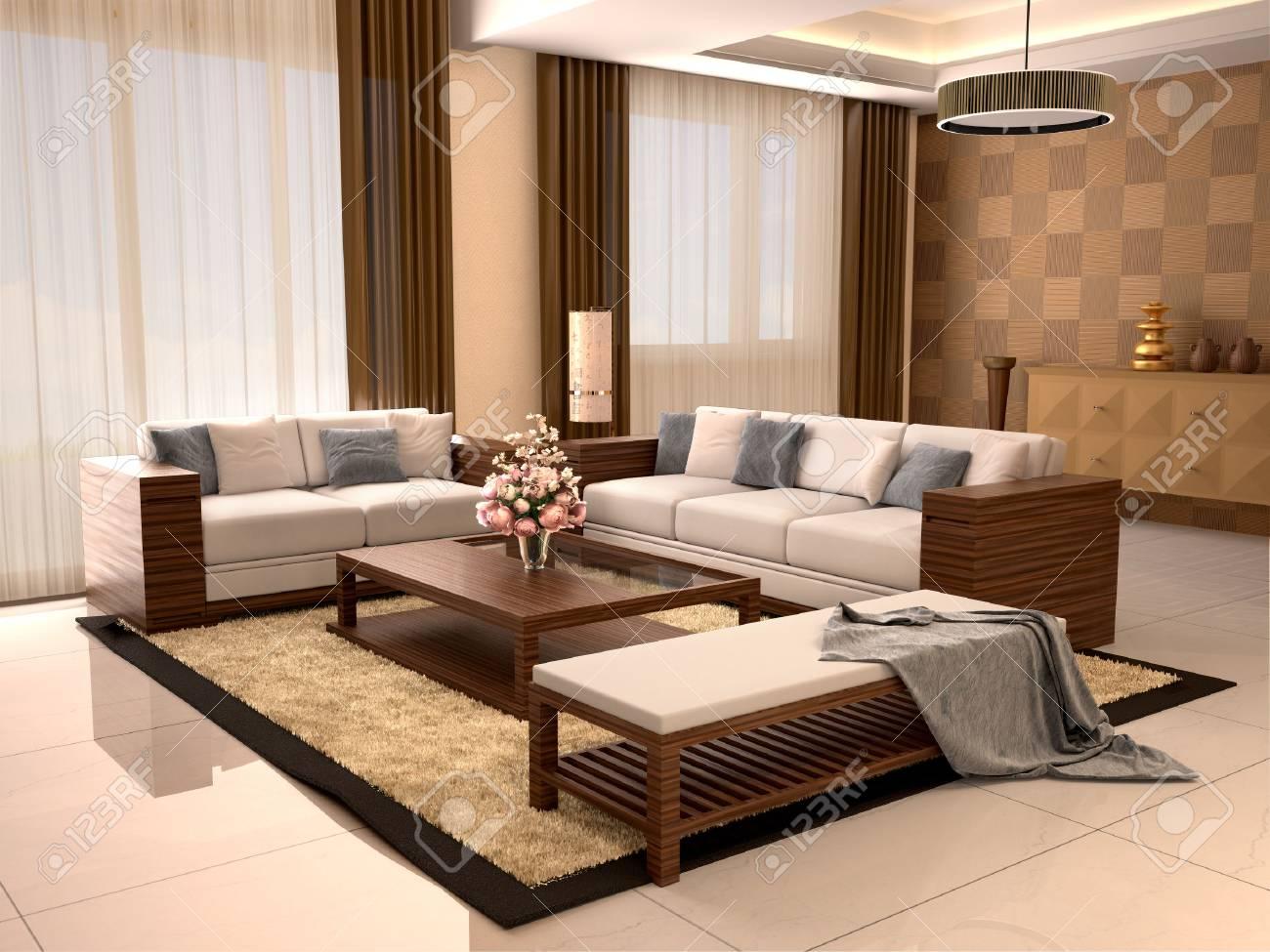 Modern Design Living Room Warm Colors 3d Illustration Stock Photo Picture And Royalty Free Image Image 62275455