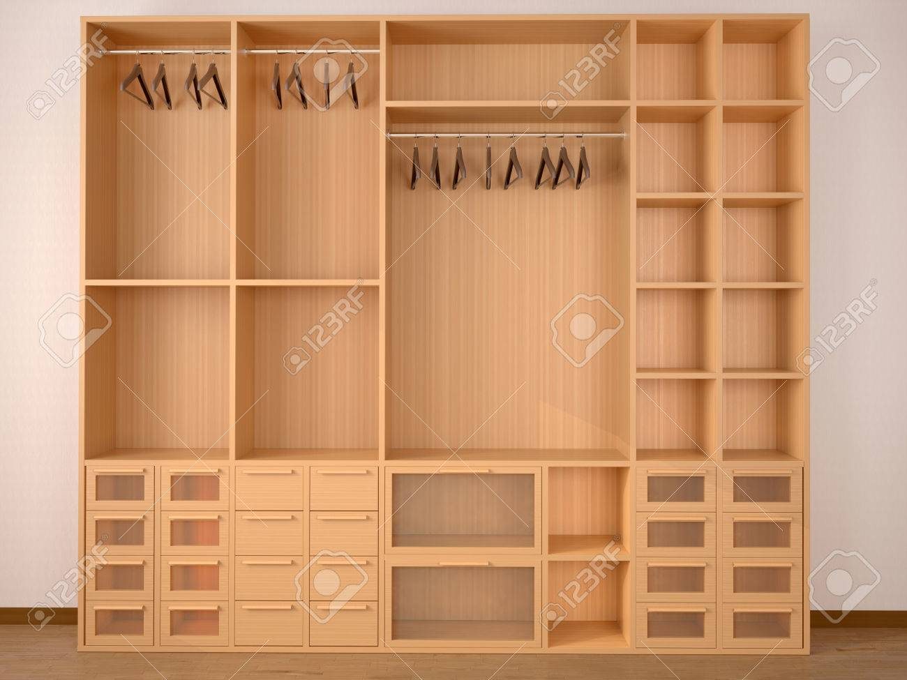 Empty Wooden Wardrobe Closet 3d Illustration Stock Photo Picture