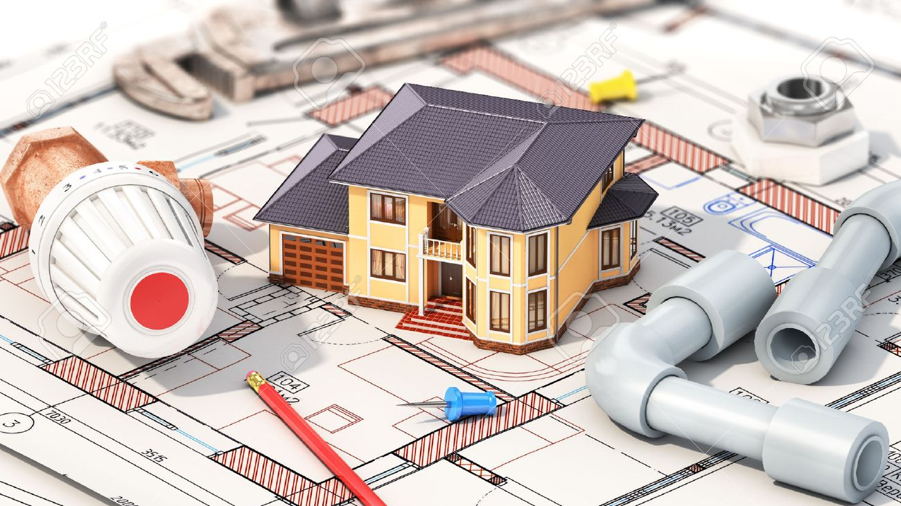 Construction concept project of heating for house house with construction concept project of heating for house house with parts of heating on the malvernweather Image collections