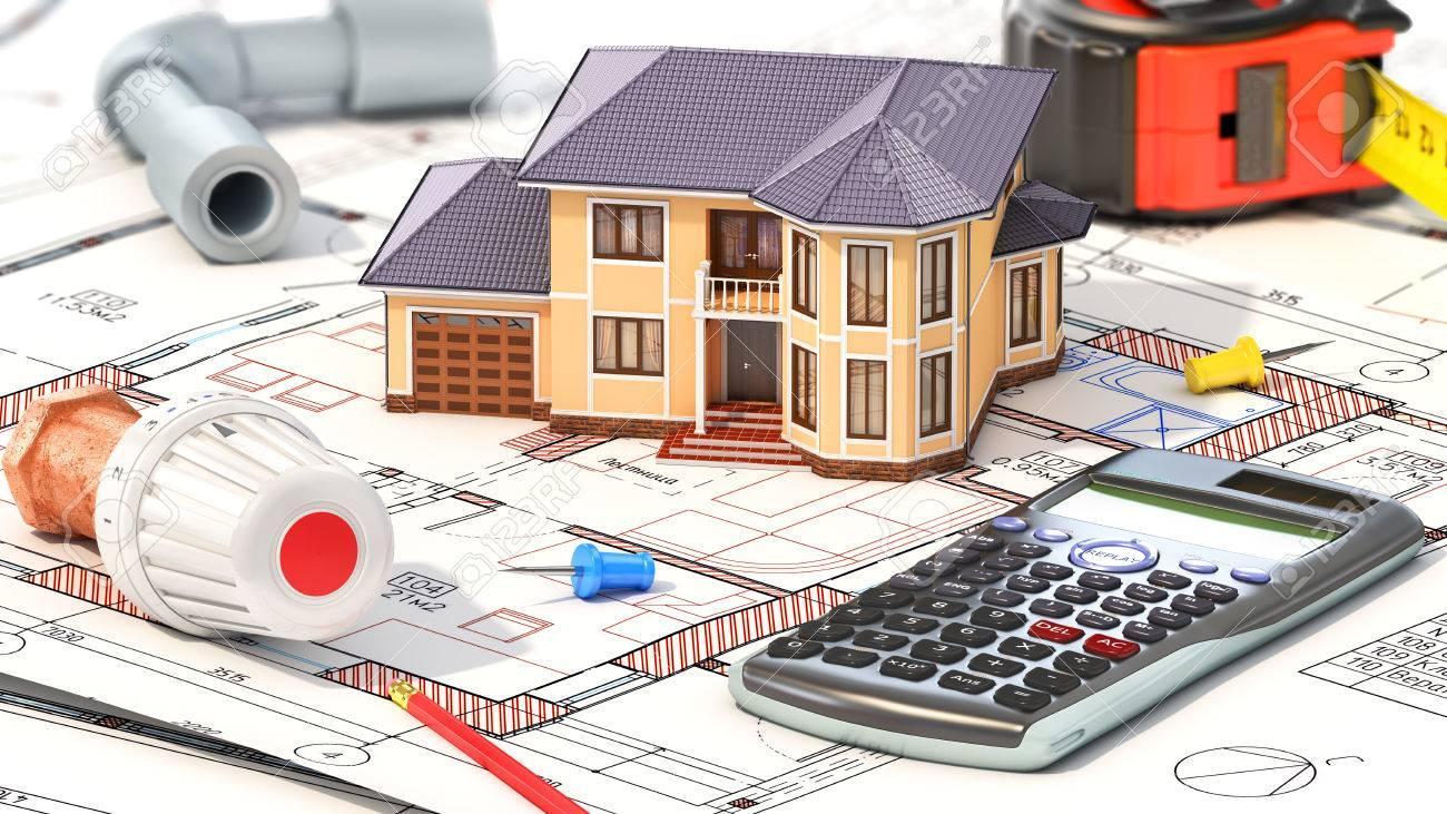 Bau-Konzept. Das Projekt Der Heizung Für Haus. Haus Mit Teilen Der ...