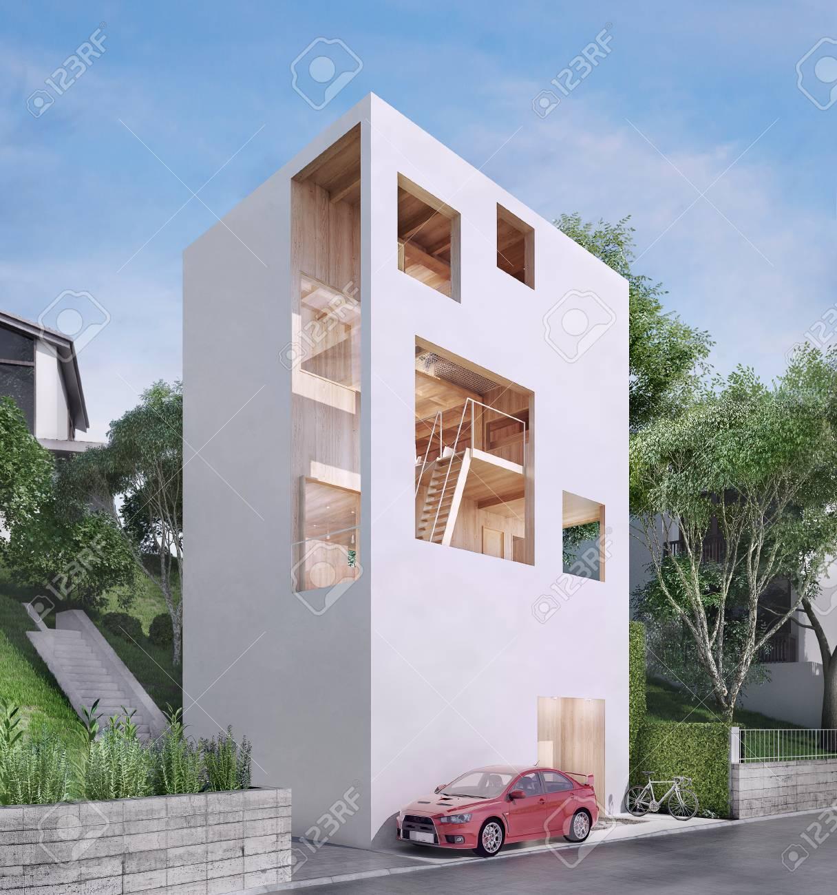 Modern House In Minimalist Style 3d Illustrtion Stock Photo