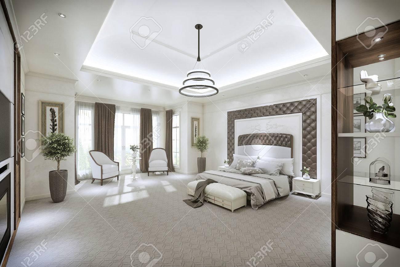 Moderne Schlafzimmer Interieur Mit Großen Fenstern Vom Boden Bis Zur ...