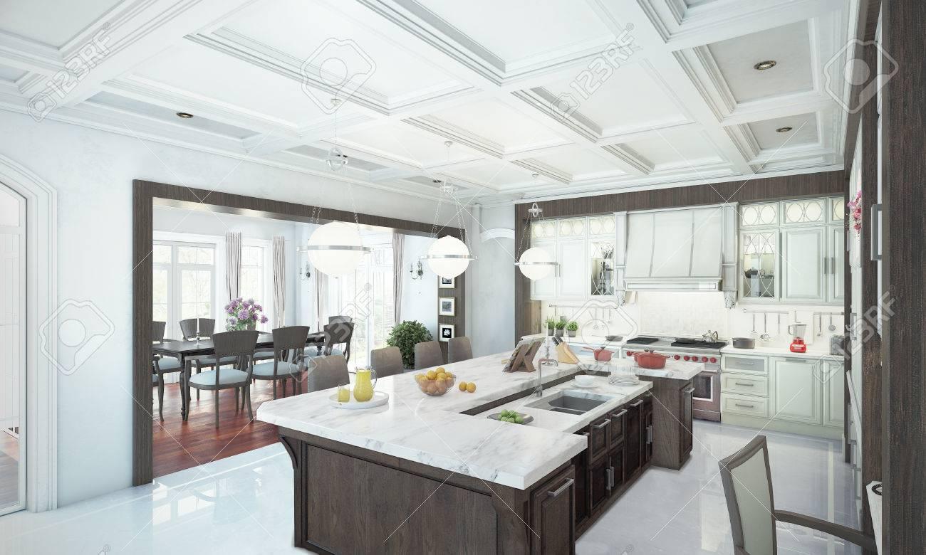 Luxus-Küche Interieur. 3D-Darstellung Lizenzfreie Fotos, Bilder Und ...