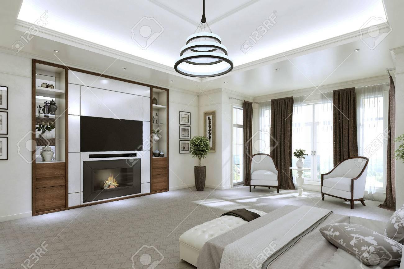 Moderne Schlafzimmer Interieur mit großen Fenstern vom Boden bis zur Decke.  3D-Darstellung