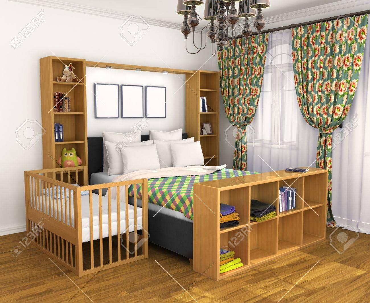 Schlafzimmer Für Die Eltern Und Das Kind. Wiegenlied-Babybett Nahe ...