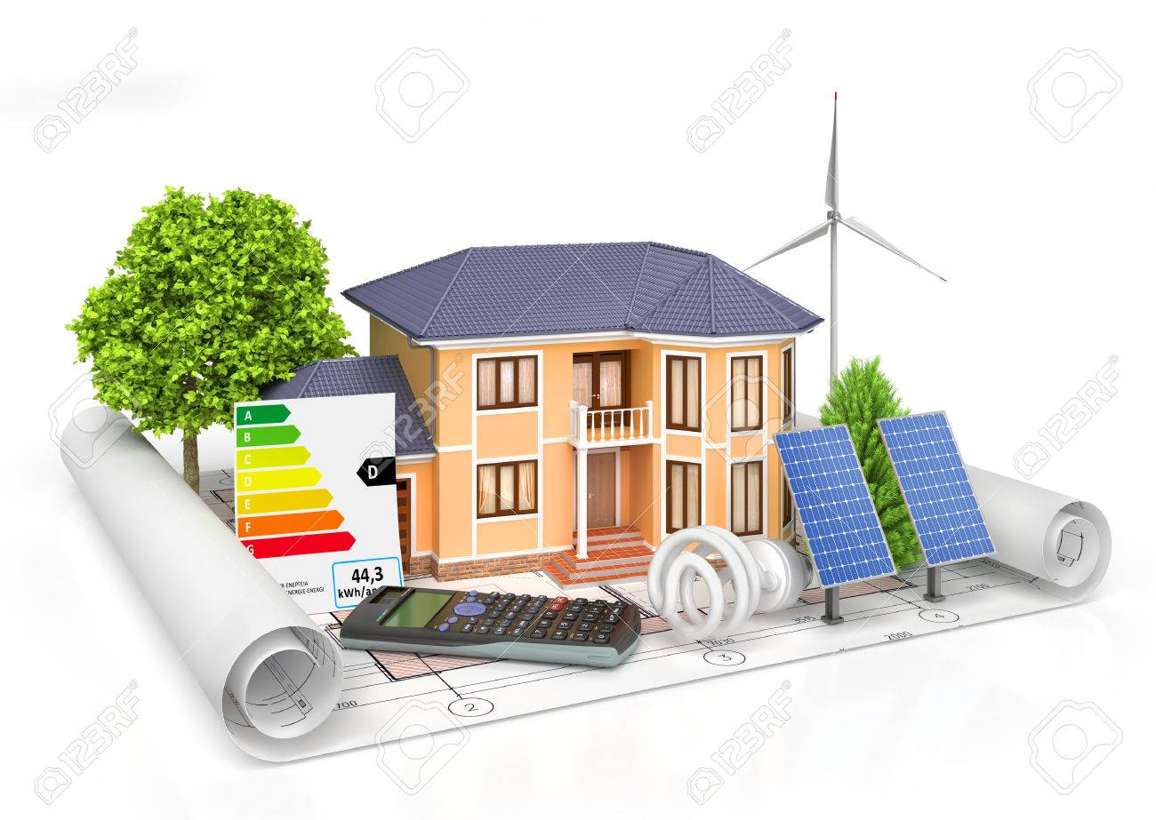 Energy Efficient Construction. House With Calculator, Solar Panel, Wind  Power Plant And Economical
