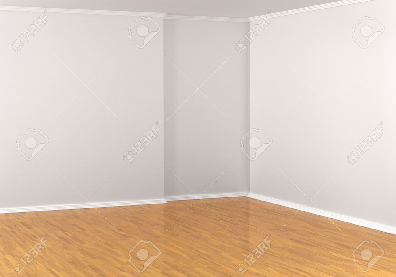 Empty Corner In A Room White Walls Parquet Flooring Laminate Hardwood Floor