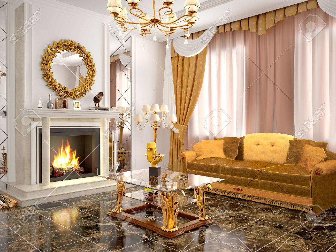 Illustration   Luxurious Living Room With Fireplace. 3d Illustration
