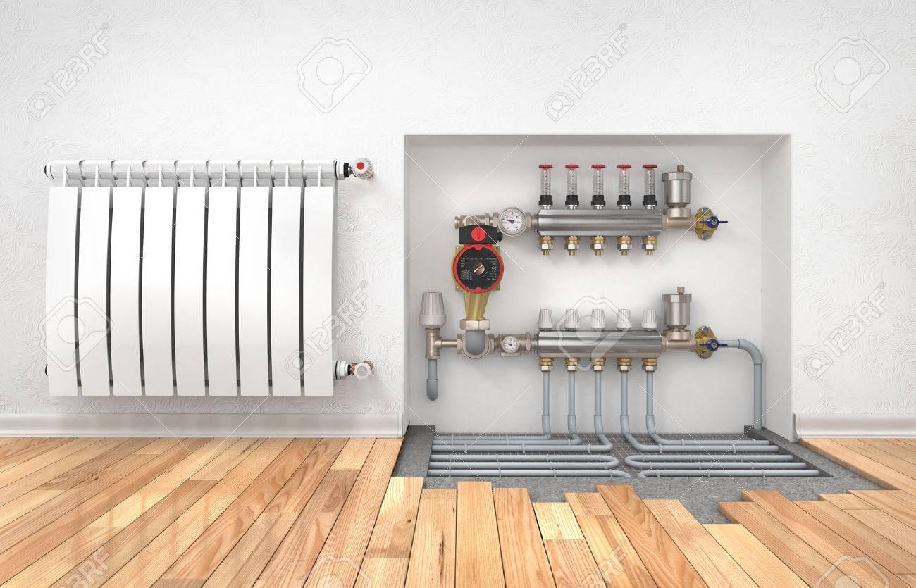 Heating Concept Underfloor Heating With Collector In The Room  ~ Calefaccion Por Suelo Radiante Precio