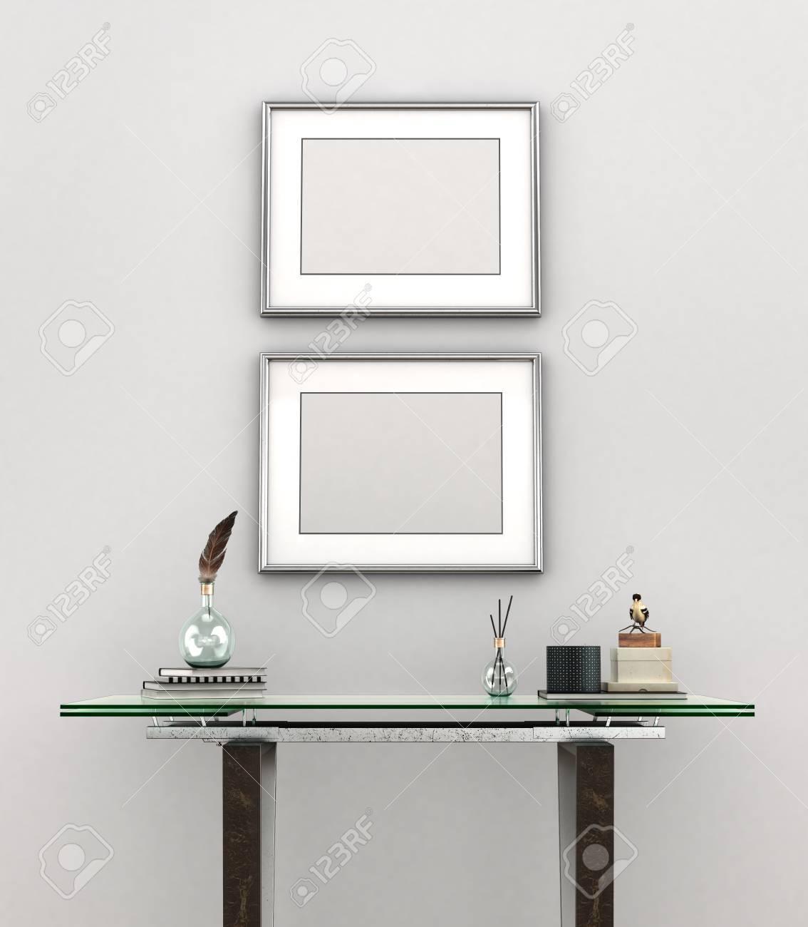 Blank Malerei Mit Silberrahmen Wiegen Auf Einer Weißen Wand über ...