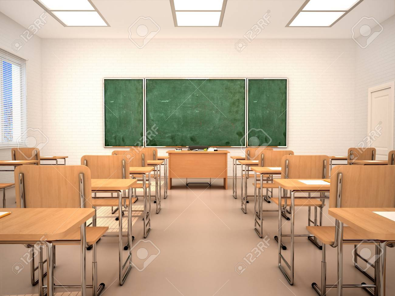 Bright Empty Classroom For Lessons And Training. 3d Illustration. Stock  Photo, Picture And Royalty Free Image. Image 69367324.
