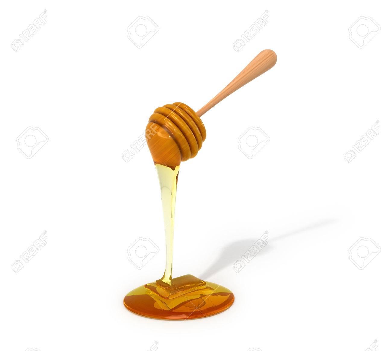 白い背景の上の蜂蜜します。蜂蜜は、割り箸はすごくカッコイイです。3 d