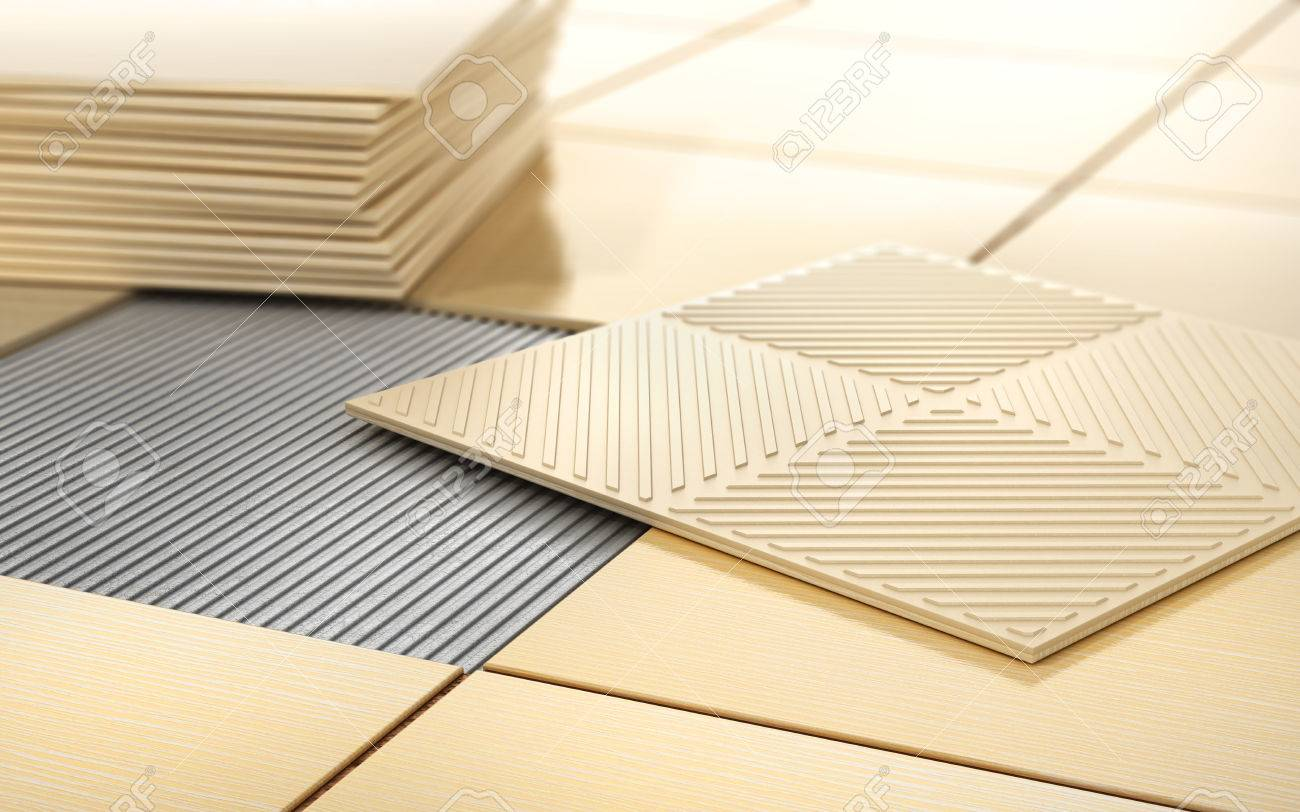Process of floor coating ceramic tile on a tiled floor 3d process of floor coating ceramic tile on a tiled floor 3d illustration stock illustration dailygadgetfo Image collections