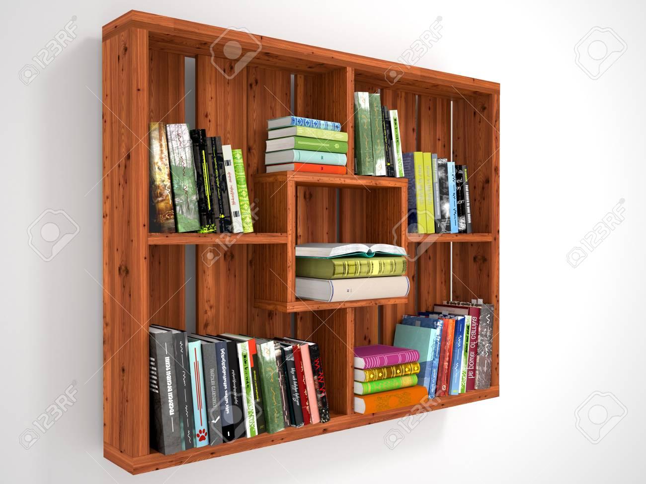 Scaffalature In Legno Per Libri.Immagini Stock Scaffali In Legno Con Libri Illustrazione 3d