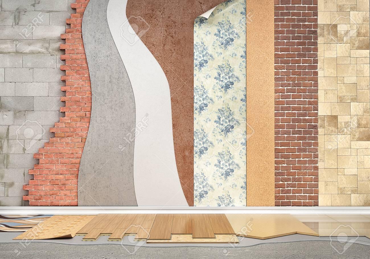 Arten Der Beschichtung Bodenbelag Installation Set Von Stucken