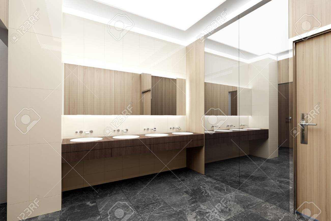 Public Toilet Interior. 3d Illustration Stock Photo, Picture And ...