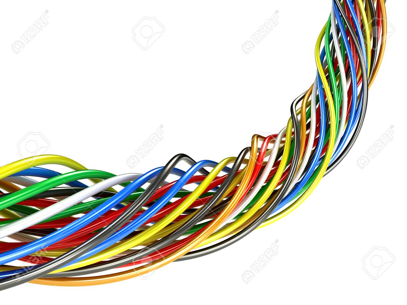A Bunch Of Multi-colored Electric Wires. 3D Illustration Stock Photo ...