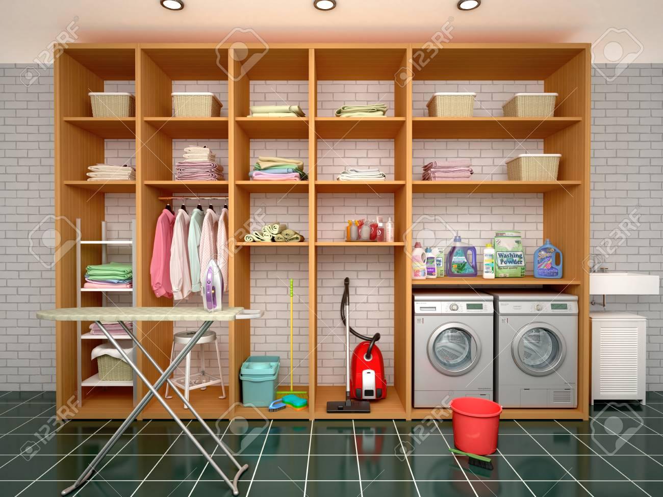 清掃と清掃の項目のための部屋をデザインします。3 d イラストレーター