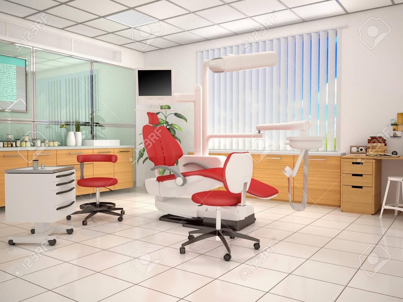 Design D Interieur Du Cabinet Dentaire Illustration 3d Banque D