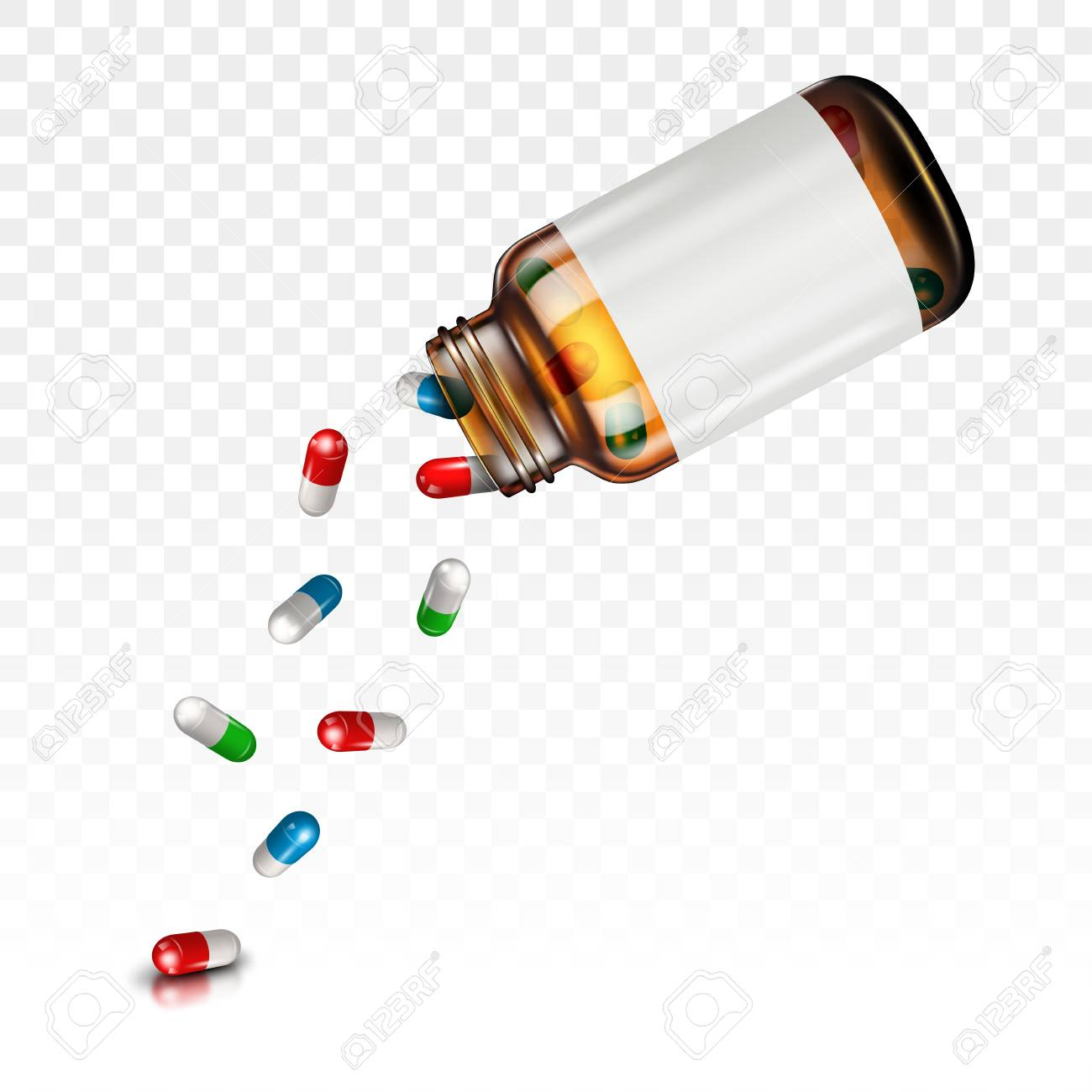 Pills falling from a jar on a transparent background - 94792964