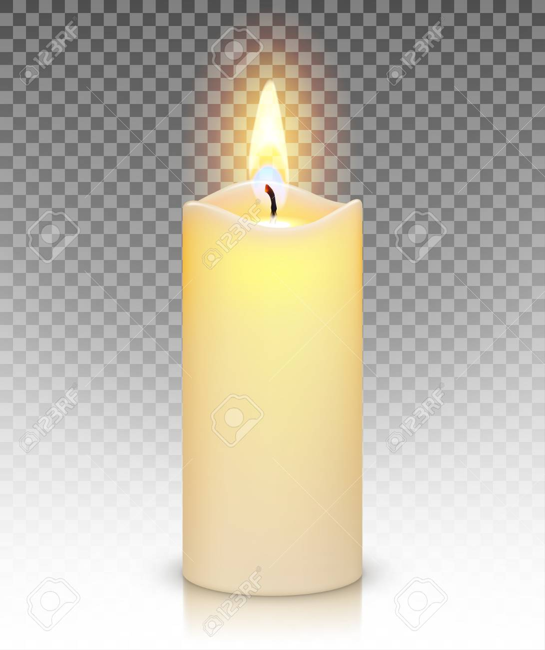 Candle burn with fire realistic isolated on transparent background - 94845942