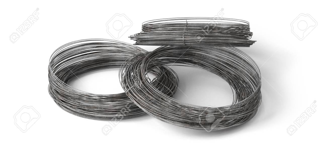 Rolls Of Metal Wire Isolated On White. 3d Illustration Stock Photo ...