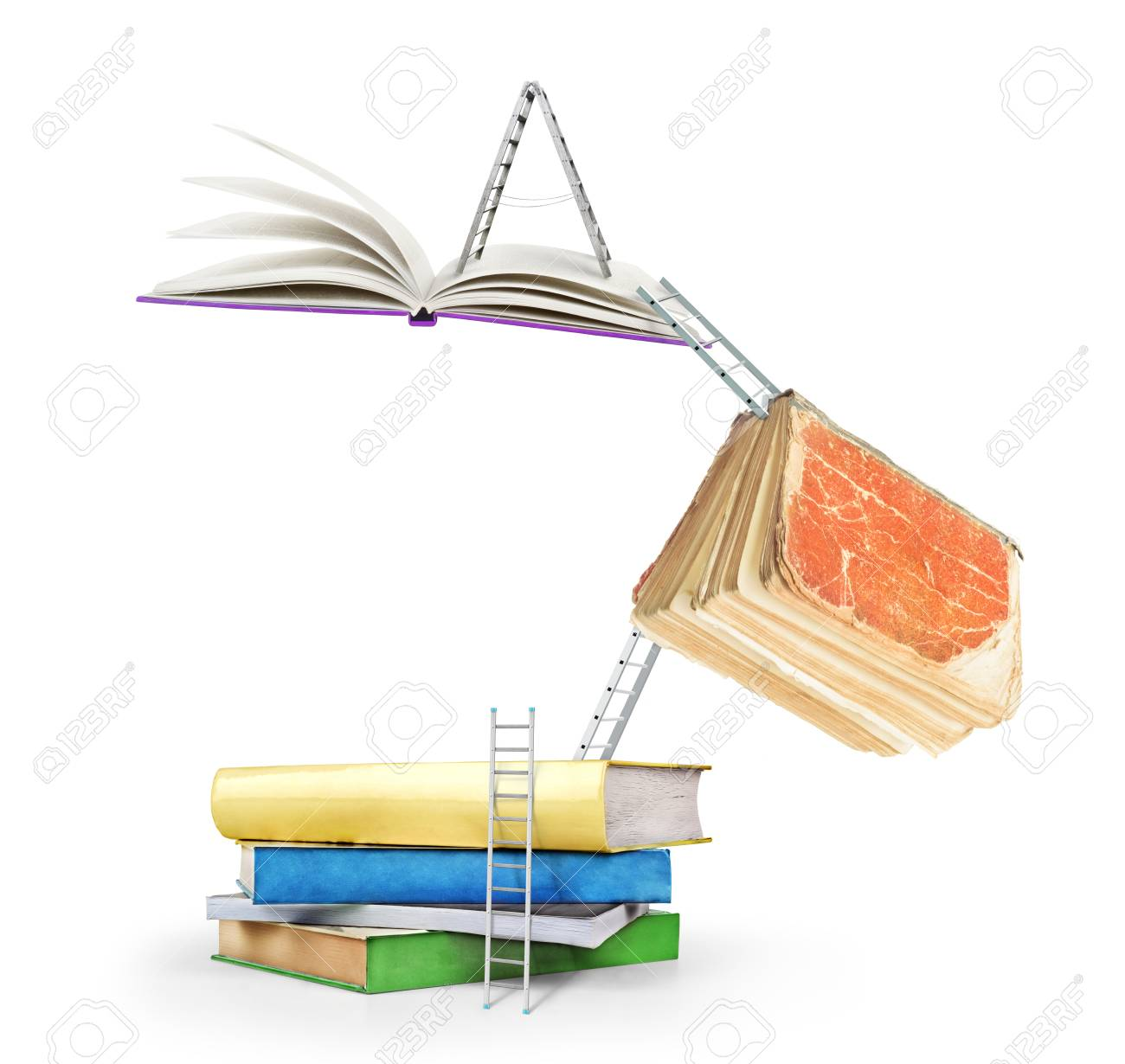 Concept of learning  Stairs connect books on a white background