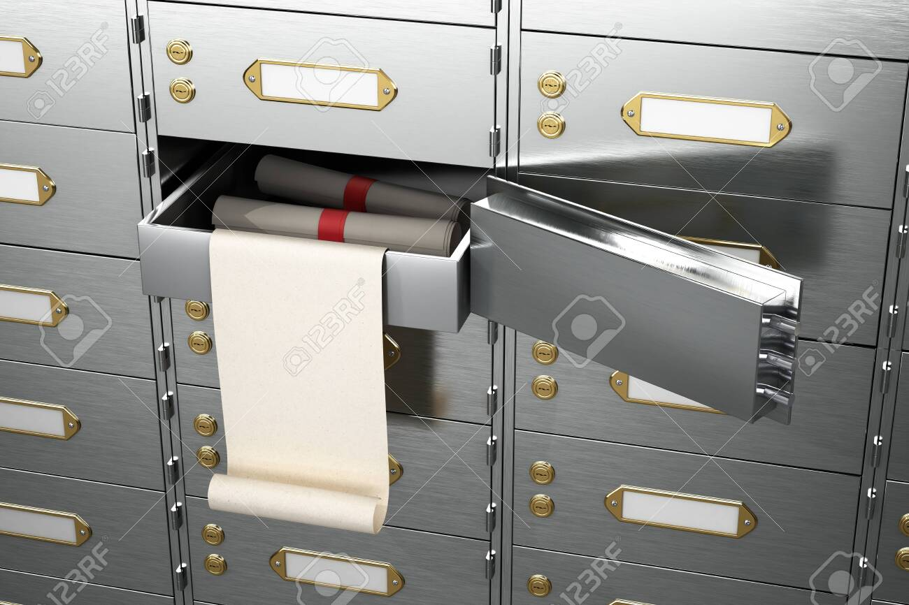 bank is a safe open cell with gold and money. 3D illustration - 138875102