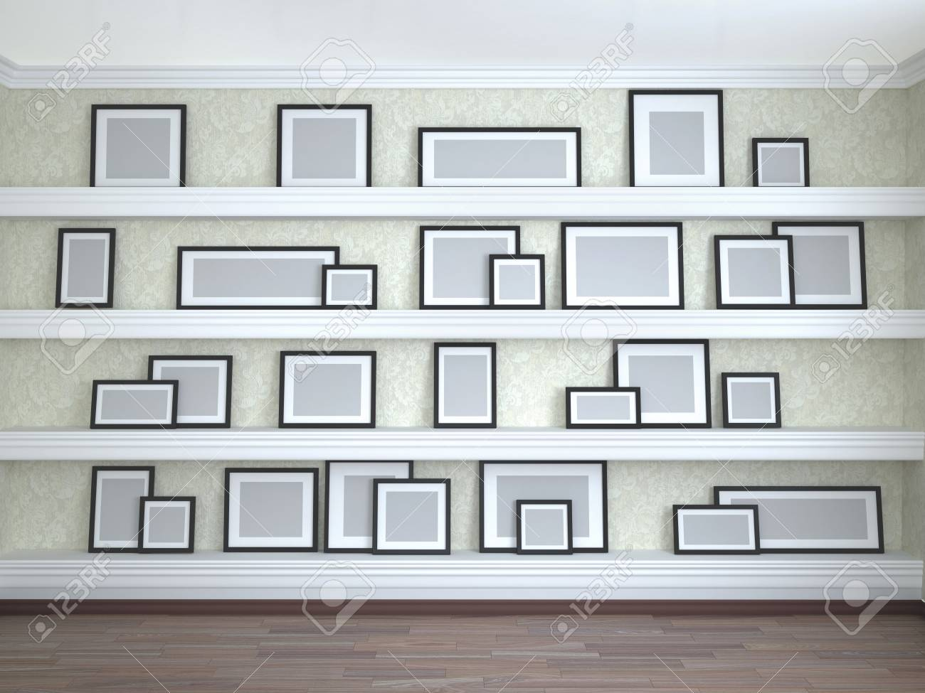Different Frame Sizes On The Shelves. 3d Illustration Stock Photo ...