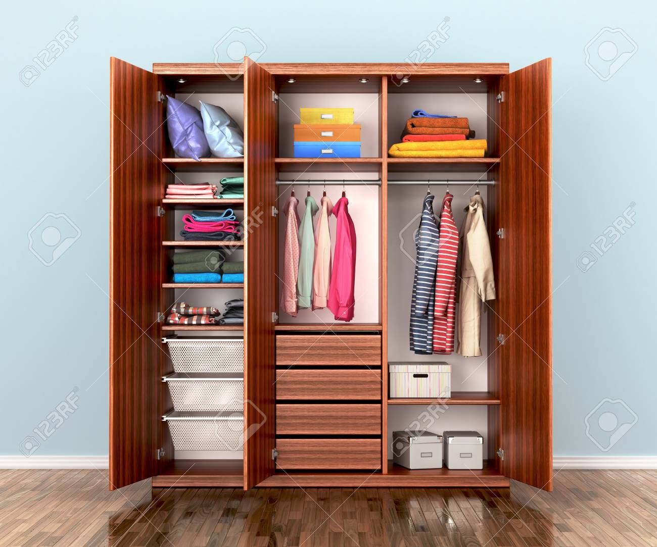 Open Wardrobe Compartment With Clothes 3d Illustrations Stock Photo