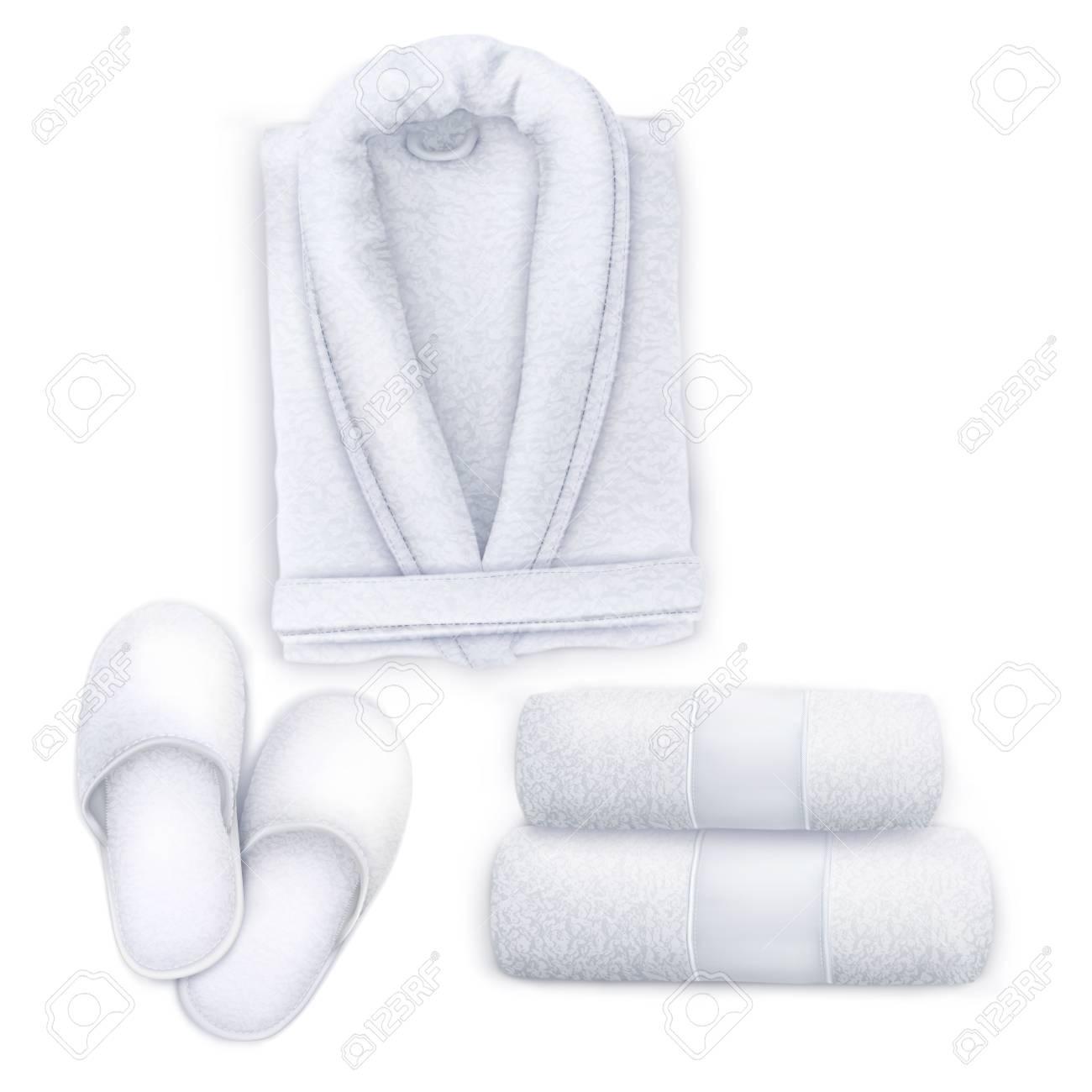 f801b2d491e00 Vector. Mock Up. White Set Spa Towel, Slippers, Bathrobe