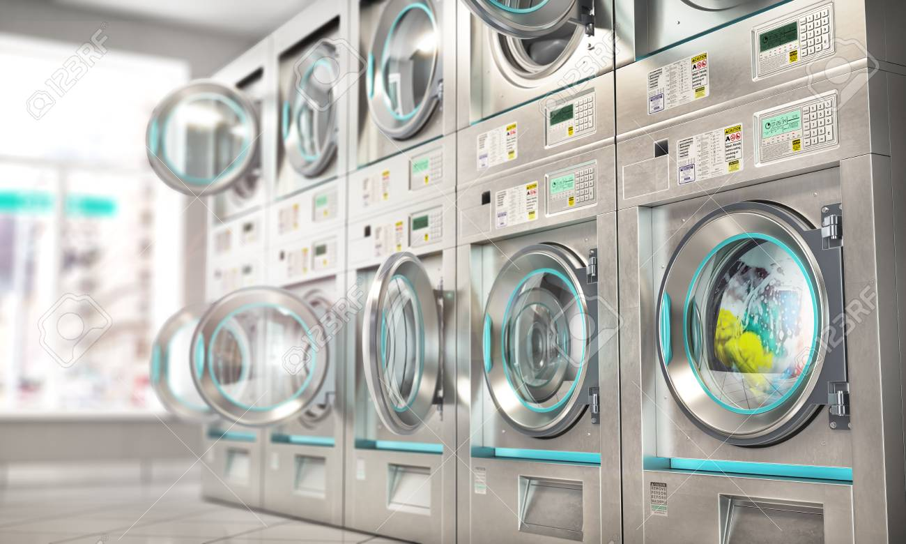 Laundry. Industrial Washing Machines In The Laundry. 3d Illustration Stock  Photo, Picture And Royalty Free Image. Image 119840446.