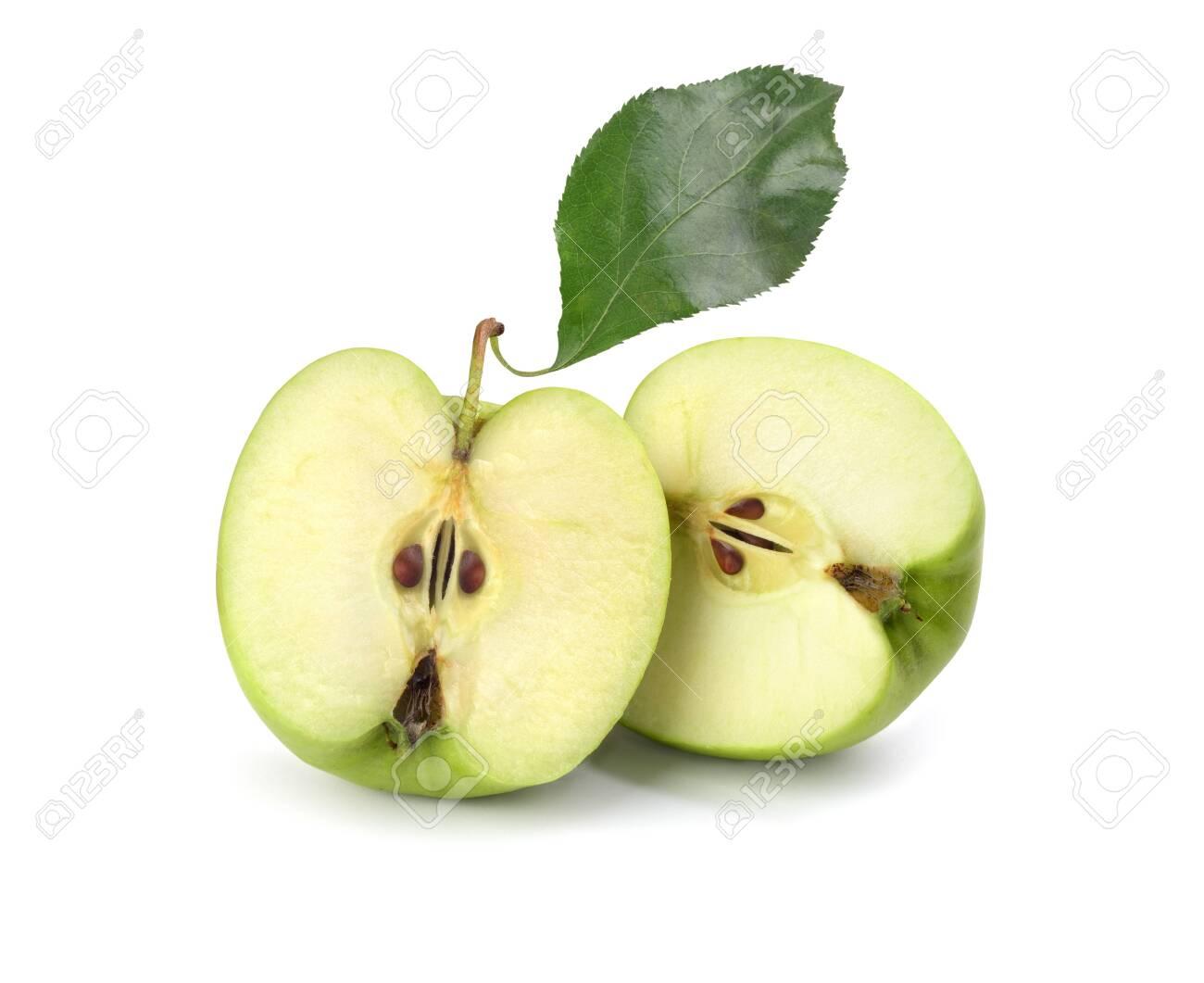 green sliced apple on white background - 126916661