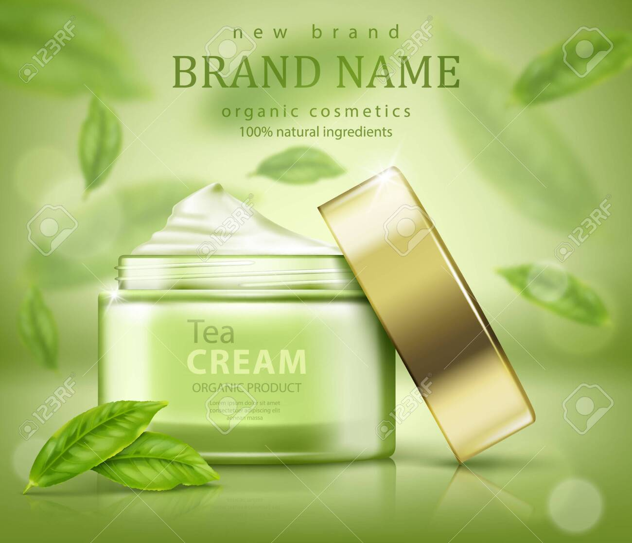 Green Tea Skin Care Banner Ads With Flying Leaves Royalty Free Cliparts Vectors And Stock Illustration Image 127045124
