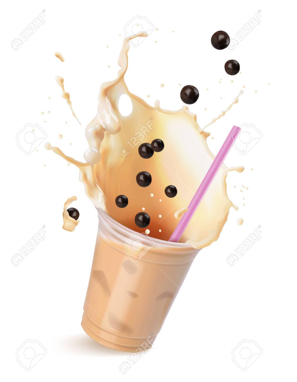 Light brown cream bubble tea with milk and black tapioca with pink straws in a transparent cup. Vector illustration isolated on white. - 128242003