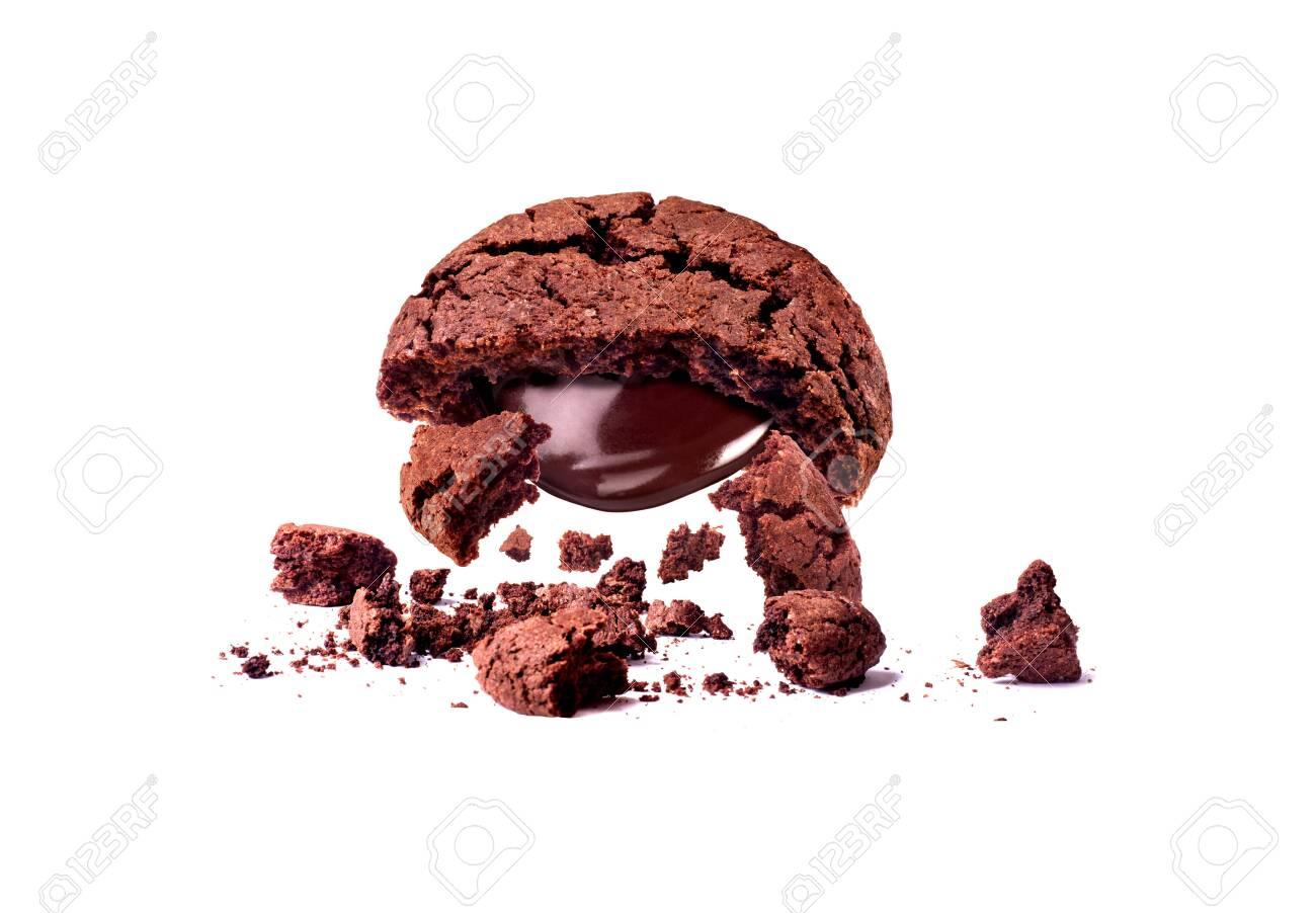 chocolate cookies broken falling isolated - 129429894