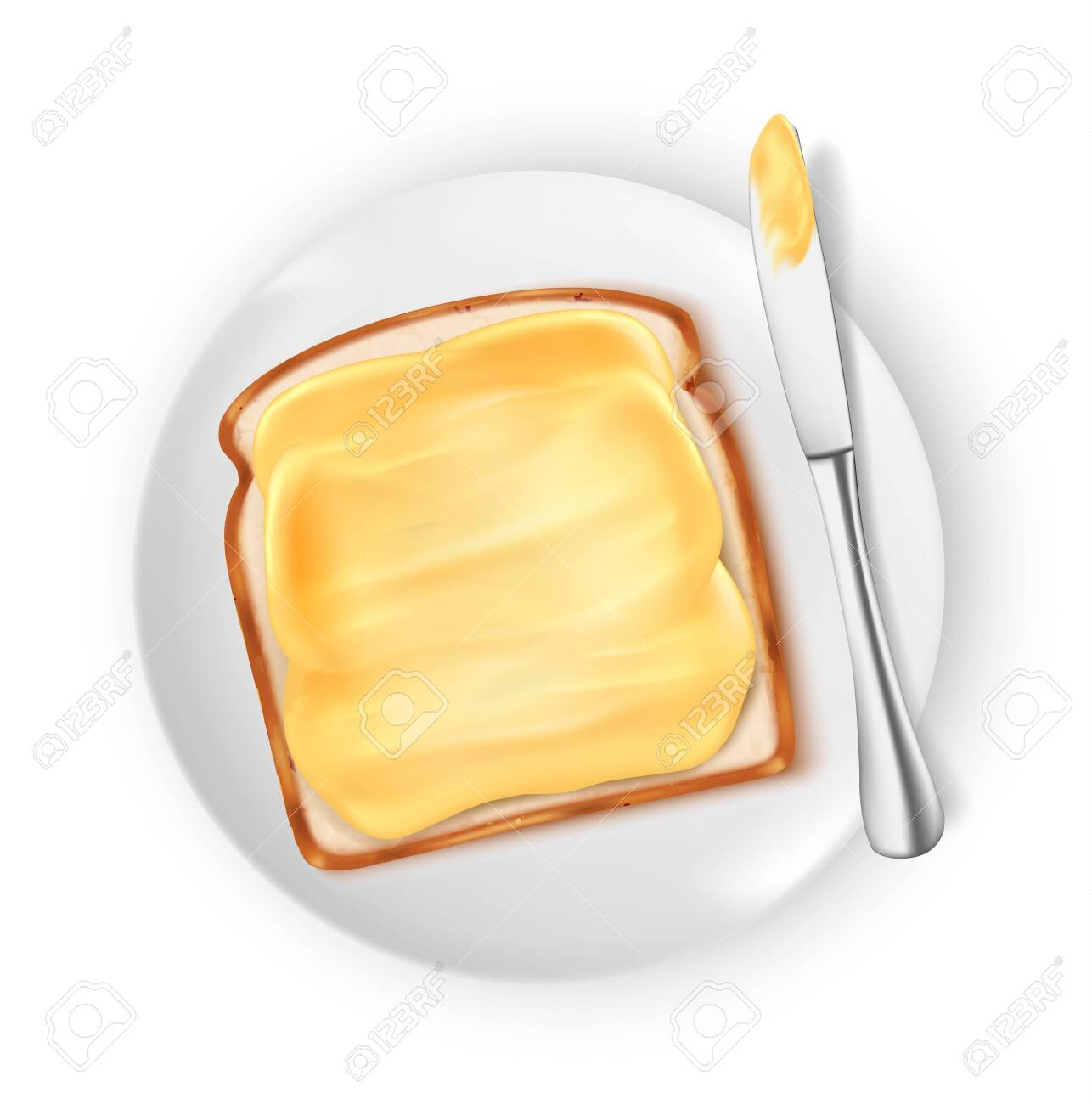 bread with butter isolated on white background, vector illustration - 133225115