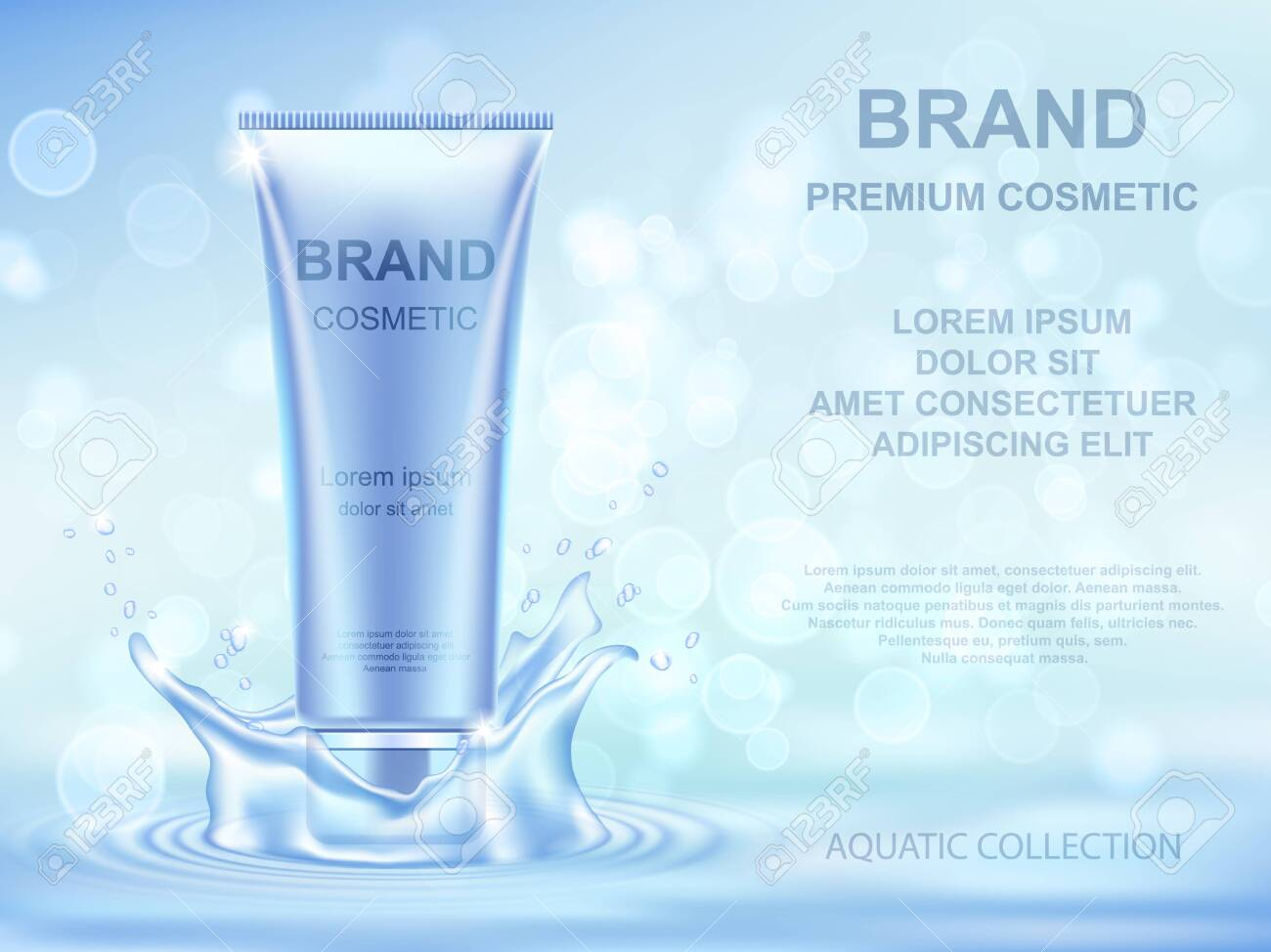 Aqua Moisturizing cosmetics ads template. Realistic cream container and water splash on blue background. - 133228229