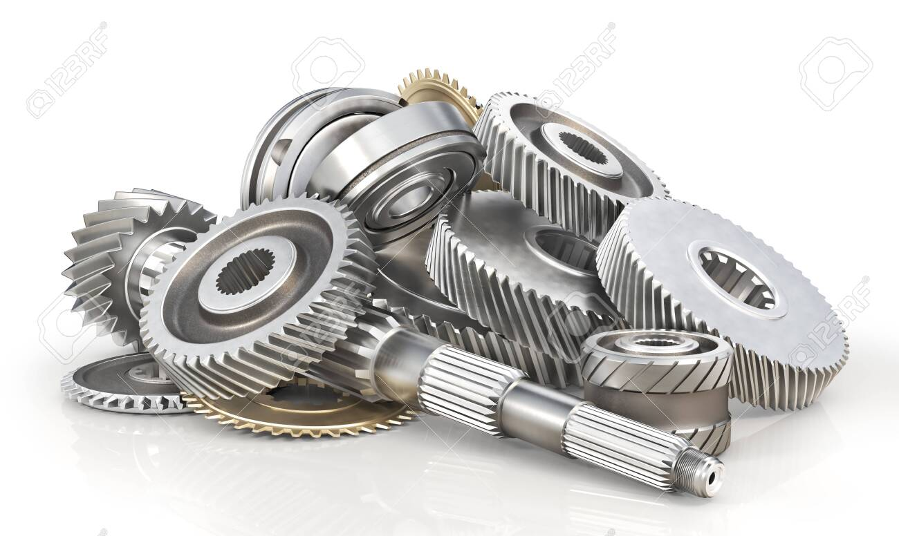 Mechanism. Gears on the shaft isolated on a white background. 3d illustration - 135174711