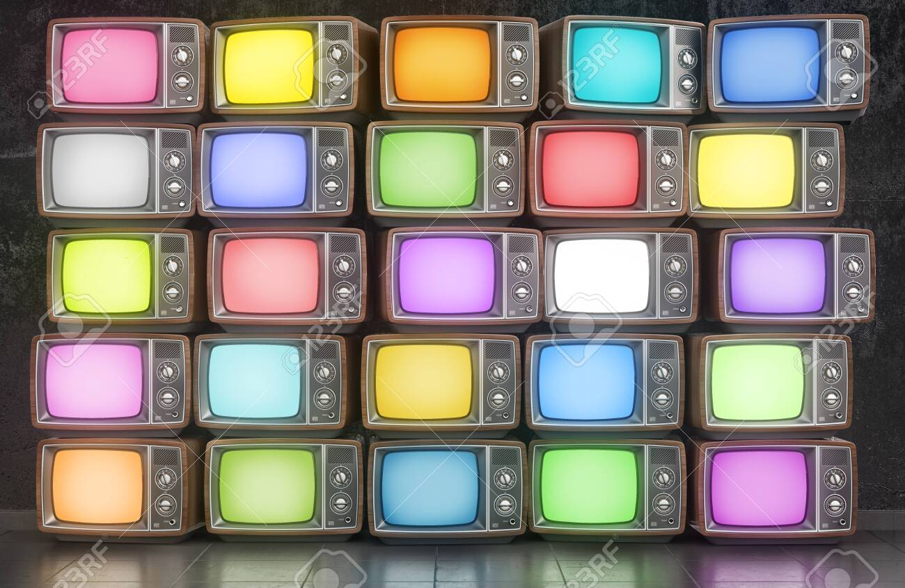 Wall of old TVs with different colors screen. 3d illustration - 139911158