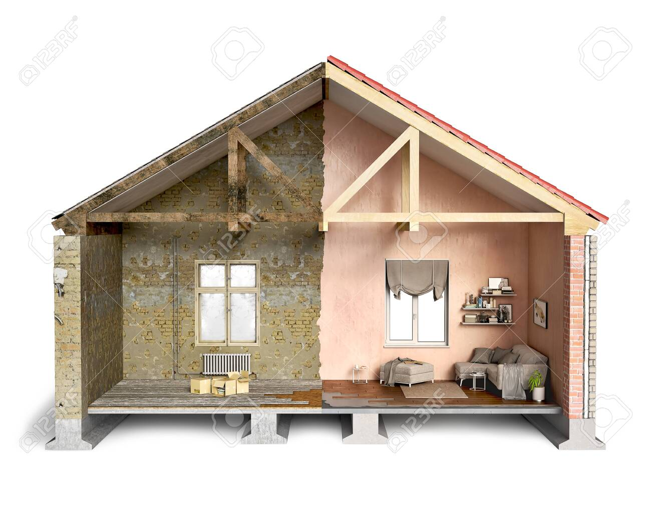 Half-old and half-new house, cross-section, 3d illustration - 148431742