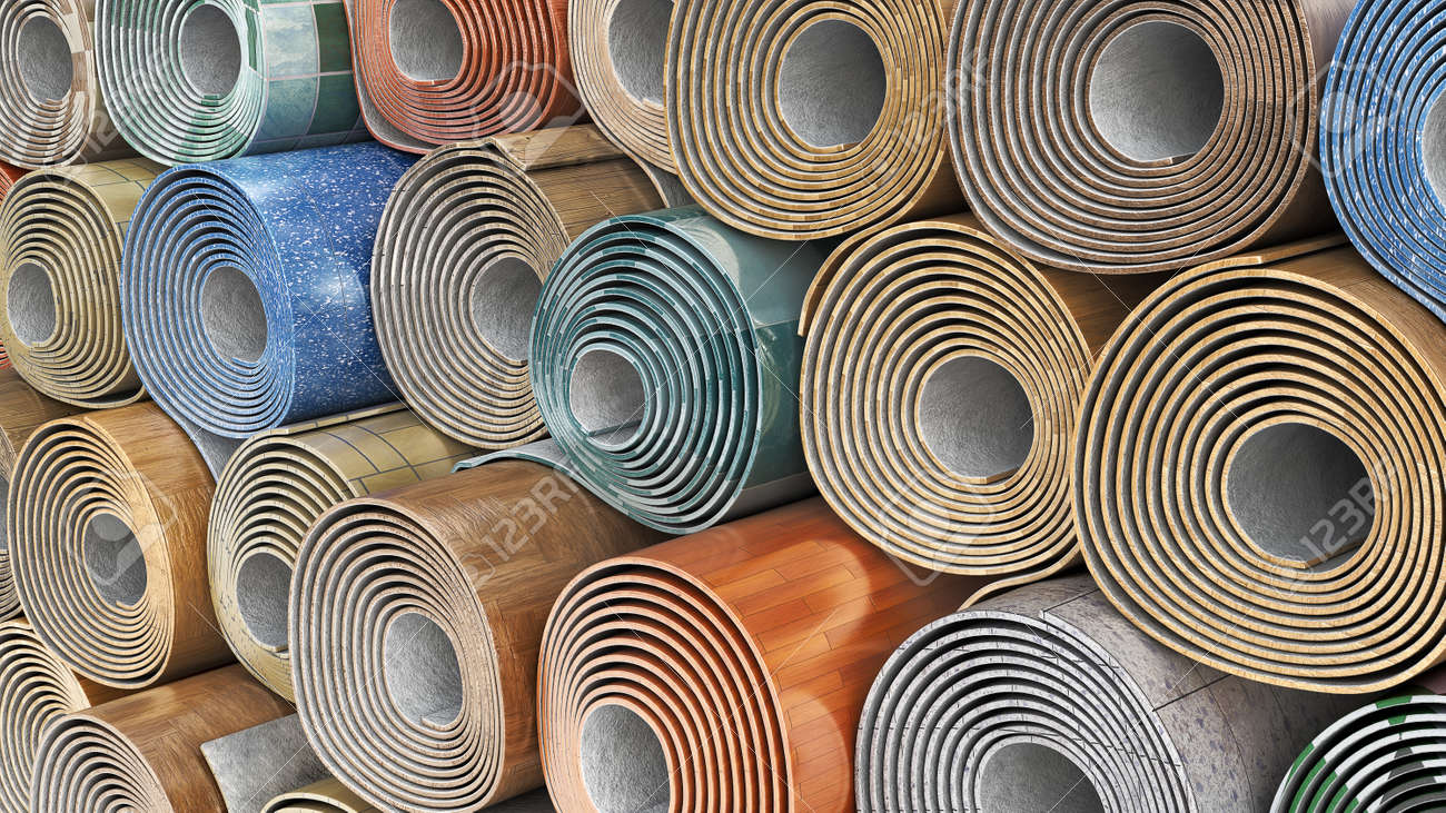 Linoleum rolls in different color schemes stacked one on another, 3d illustration - 167164800