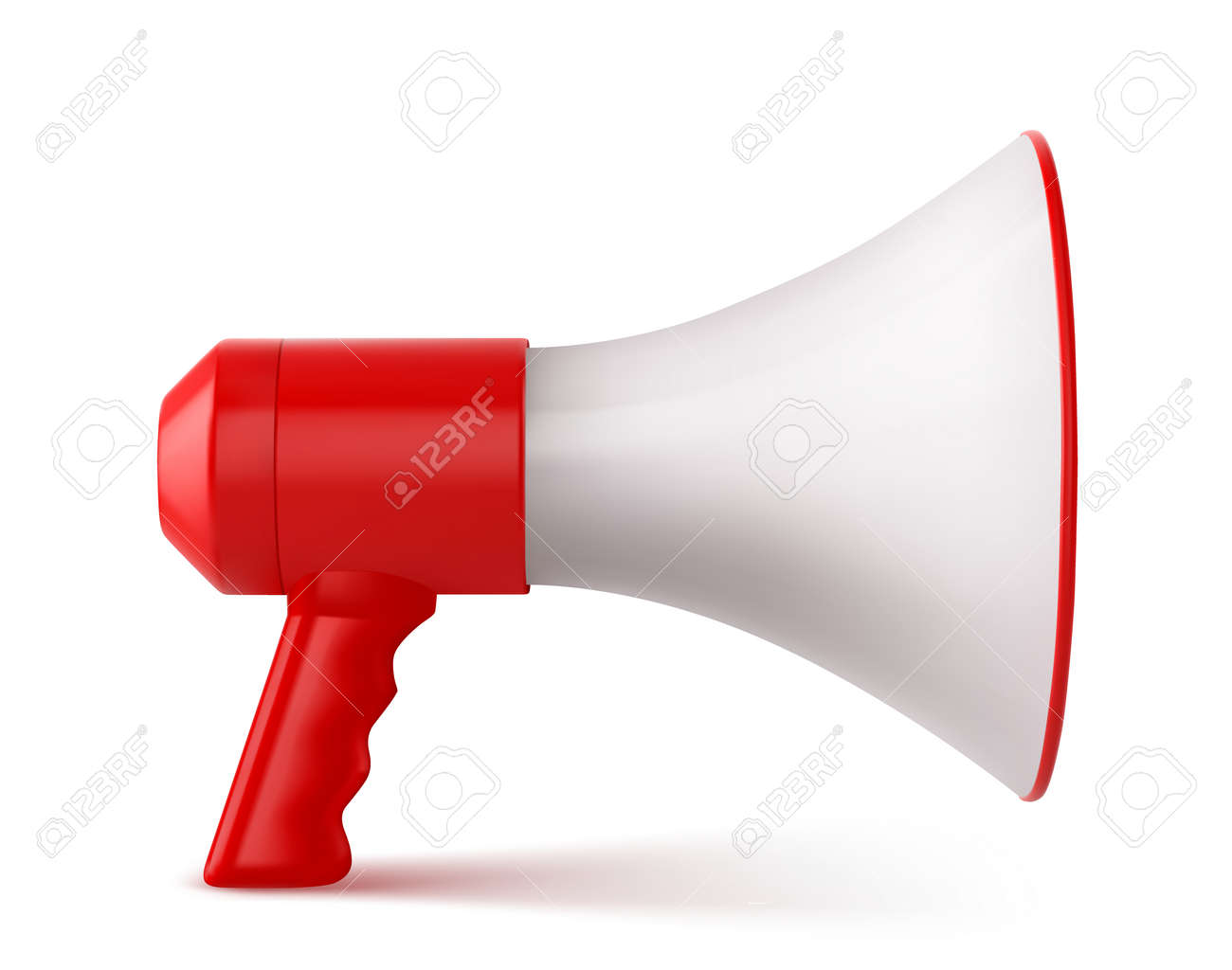Red and White Megaphone Isolated on White Background. Vector illustration - 167221605