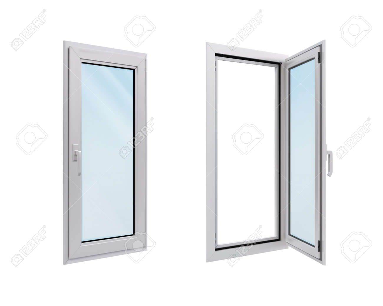 White narrow window in side view on a transparent background. vector illustration - 168415828