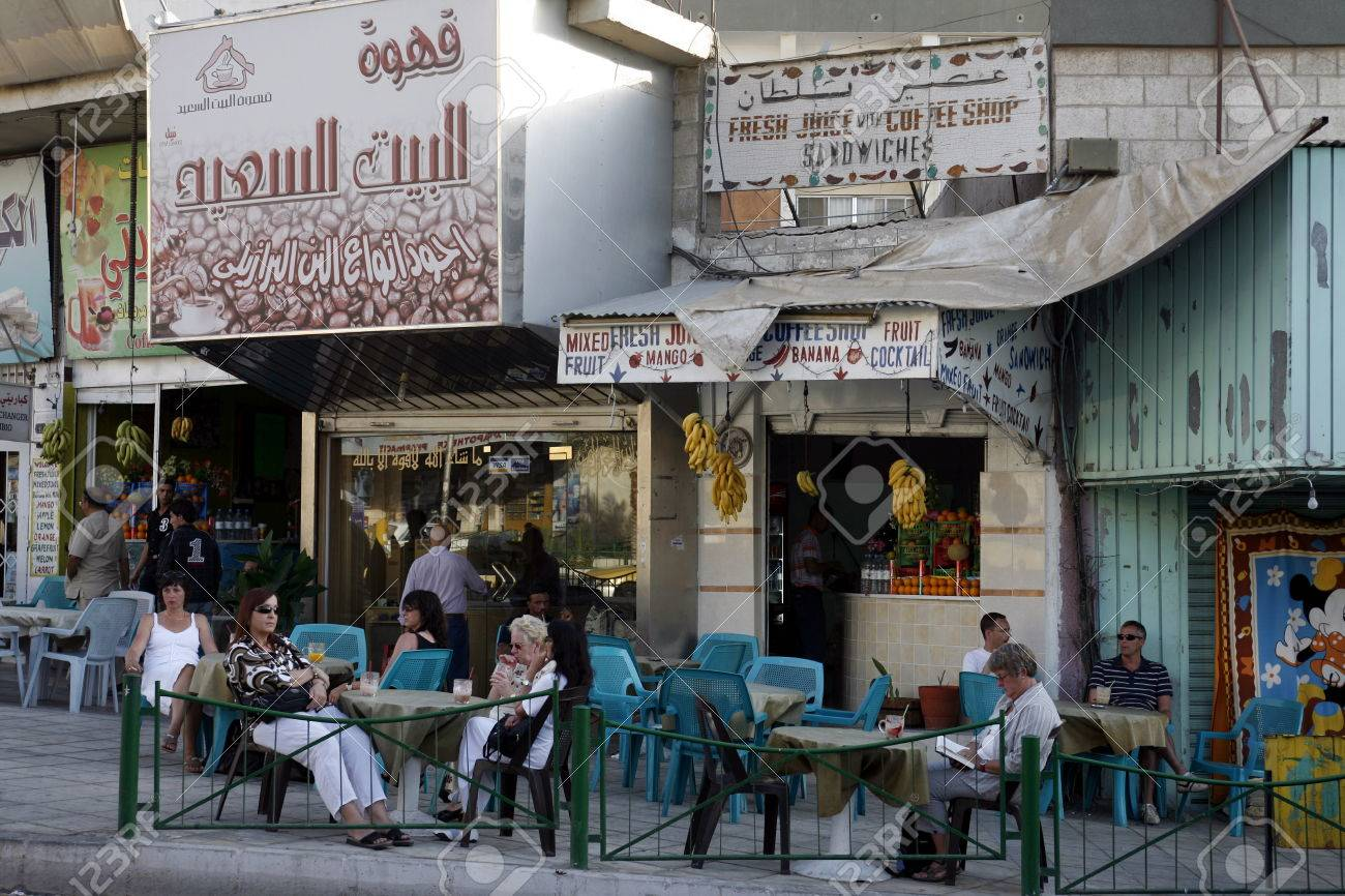 A Cafe Shop In The City Of Aqaba On The Red Sea In Jordan In