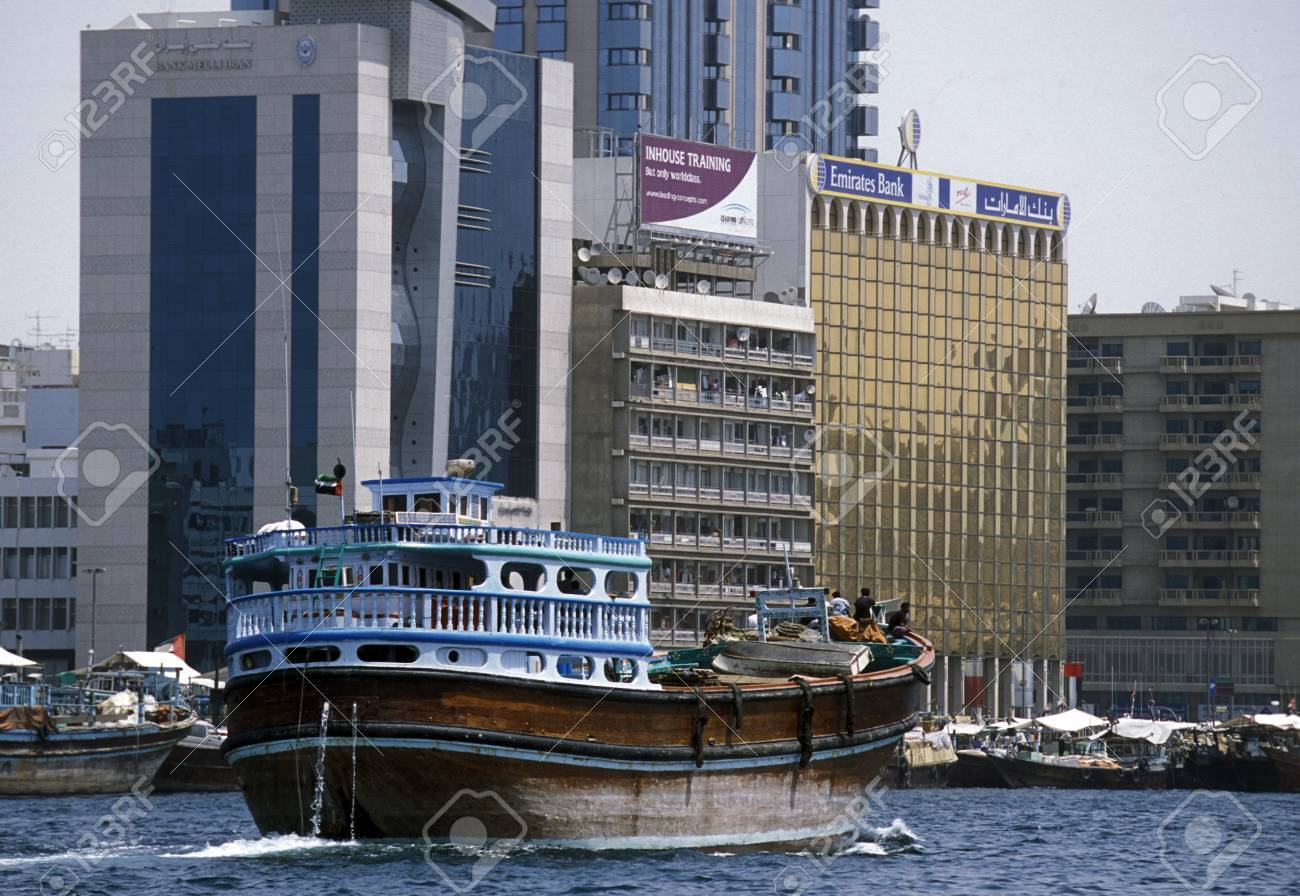 Import and export goods at the harbour at the Dubai creek in
