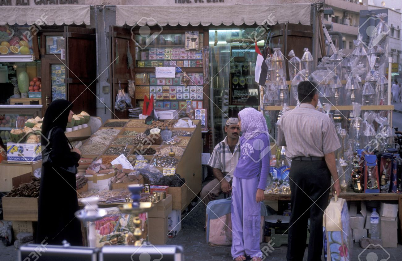 a shopping street in the souq or Market in the old town in the